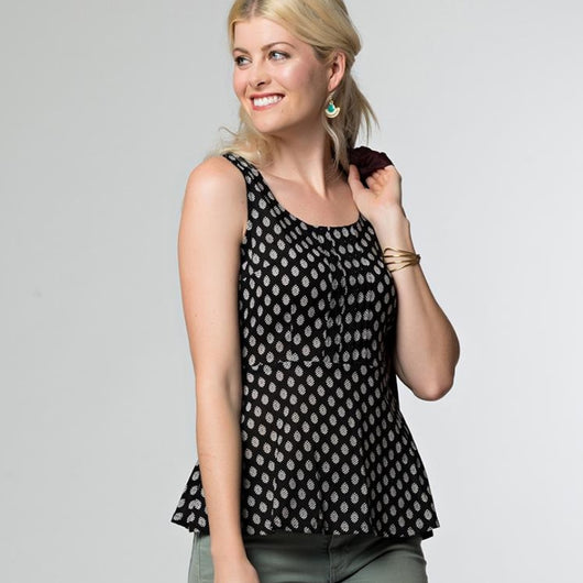 Mata Traders Prim and Pleat Top Black Floral-lifestyle