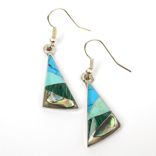Fair Trade Handmade Alpaca Silver Triangle Turquoise & Abalone Earrings