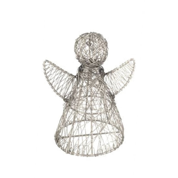 Silvertone Wrapped Wire Angel Decor