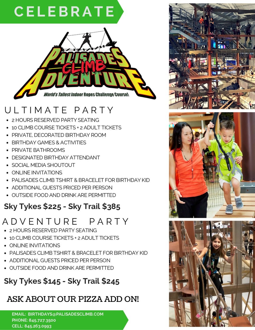 THE SKY TYKES ADVENTURE PARTY (For Participants Over 42″ Tall)