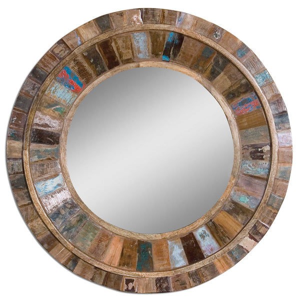 Jeremiah Round Reclaimed Wood Mirror - Multicolor