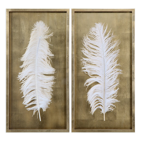 Gold Feather Artwork – Set of 2