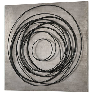 Rustic Square Hand-Forged Iron Coils on Silver Plaque