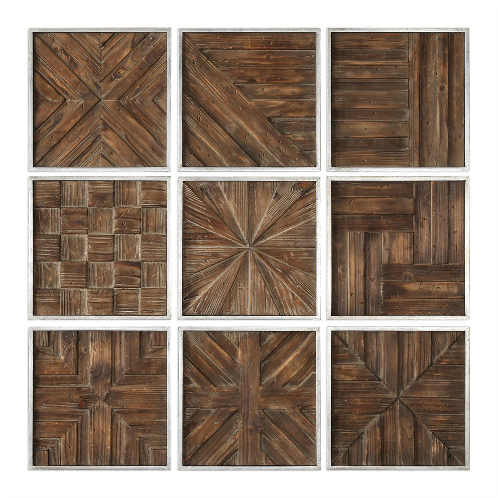 Rustic Wood Squares Collage Wall Art – Set of 9