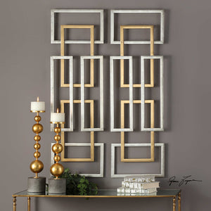 Silver & Gold Overlapping Rectangles Wall Art – Set of 2