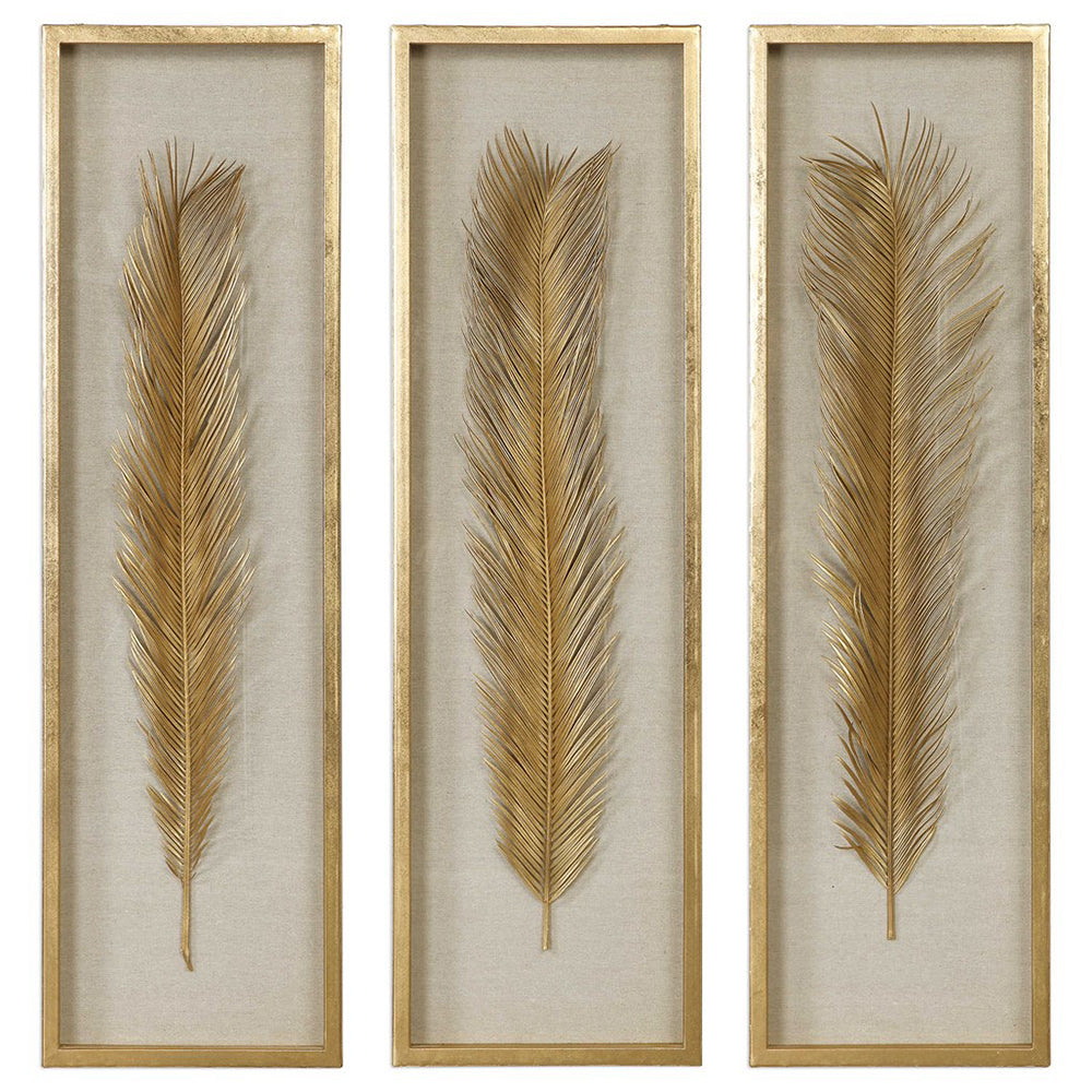 Golden Palm Leaves Shadow Box Wall Art Set Of 3