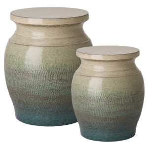 Large Koji Garden Stool – Teal & Cream