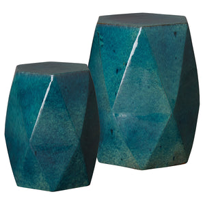 Large Faceted Garden Stool - Teal