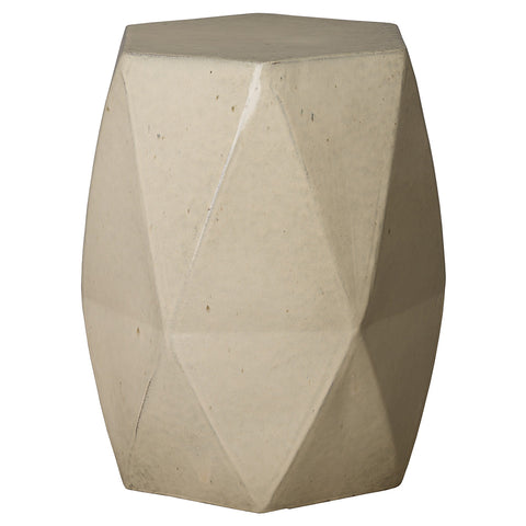 Large Faceted Garden Stool – Cream