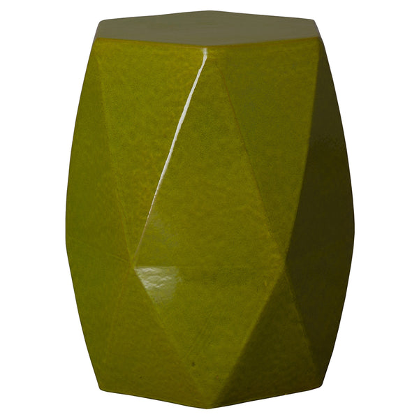 Large Faceted Garden Stool – Green