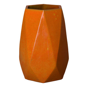 Faceted Hexagon Ceramic Jar – Bright Orange