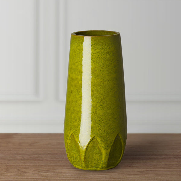Tall Calyx Relief Vase - Green