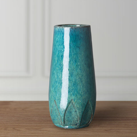 Tall Calyx Relief Vase - Teal
