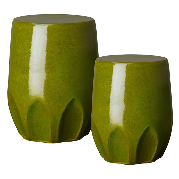 Large Calyx Relief Garden Stool – Green
