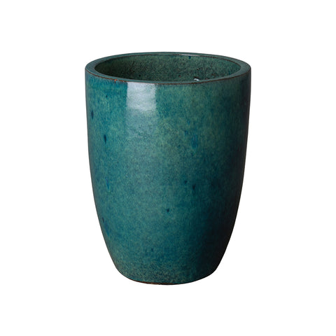 Tall Teal Glazed Ceramic Bullet Planter - Small
