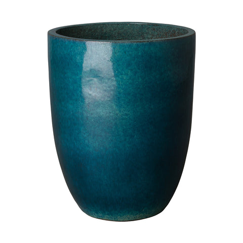 Tall Teal Glazed Ceramic Bullet Planter - Medium