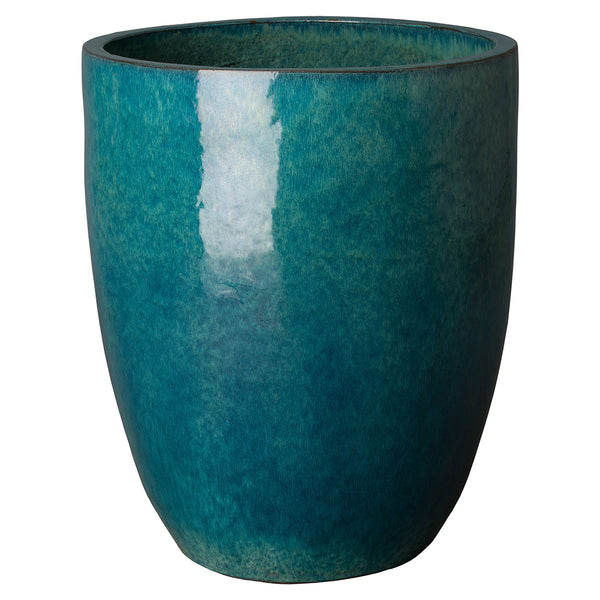 Tall Teal Glazed Ceramic Bullet Planter - Large