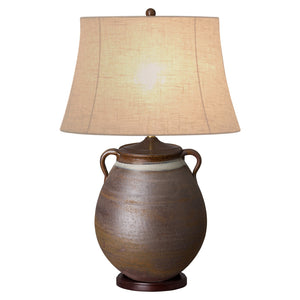 2-Handled Vase Ceramic Table Lamp – Rustic & White Banded Glaze