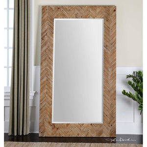 Demetria Chevron Pattern Wood Floor Mirror