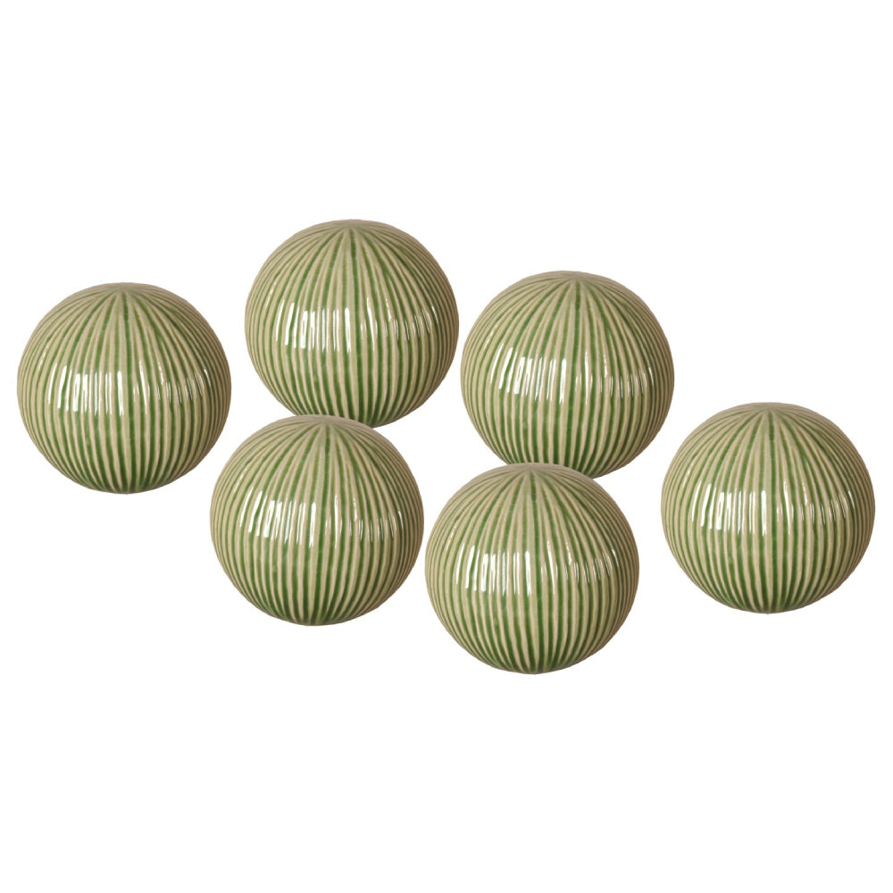 Textured Ceramic Decorative Balls – Set of 6
