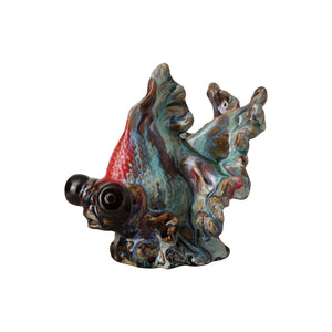 Decorative Ceramic Goldfish Sculpture – Mixed Color Glaze