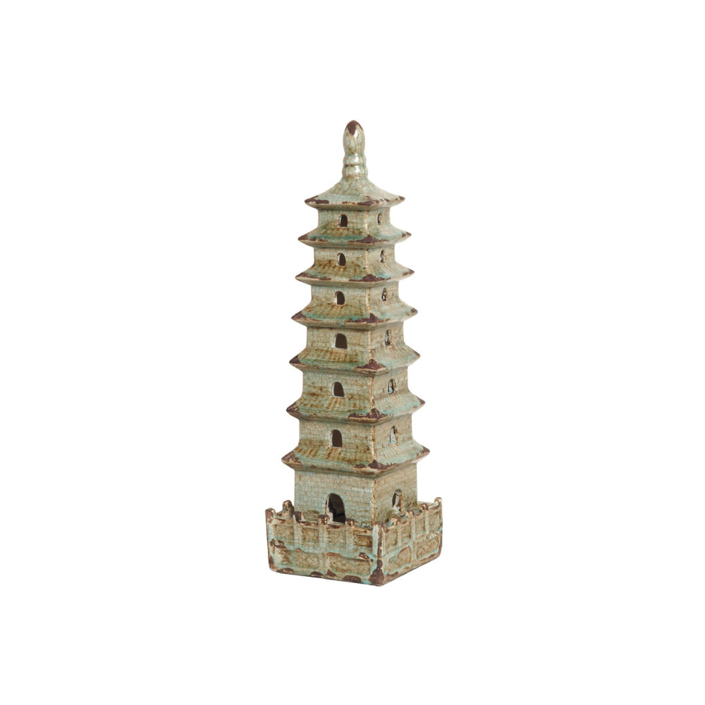 Small Decorative Pagoda Sculpture – Antique Foam Blue