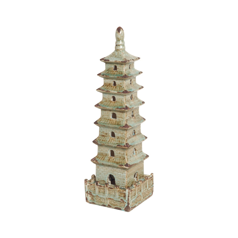 Medium Decorative Pagoda Sculpture – Foam Blue