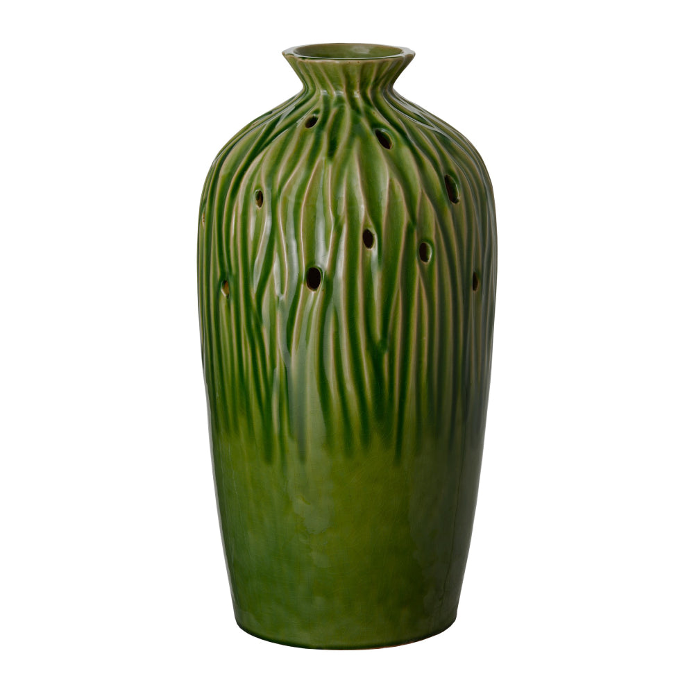 Tall Sequoia Ceramic Vase  – Green Olive