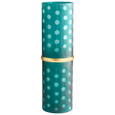Large Brass Green Cylindrical Vase
