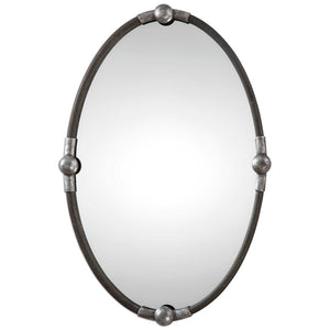 Oval Iron Mirror - Silver Accents