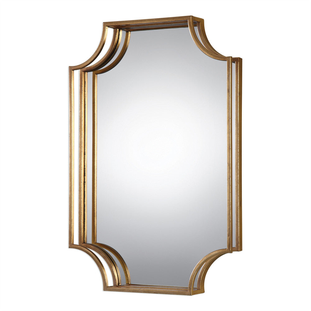 Glam Open Frame Rectangular Mirror – Antiqued Gold Leaf | Scenario Home