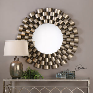Chain Linked Tubes Round Mirror – Distressed Silver Leaf