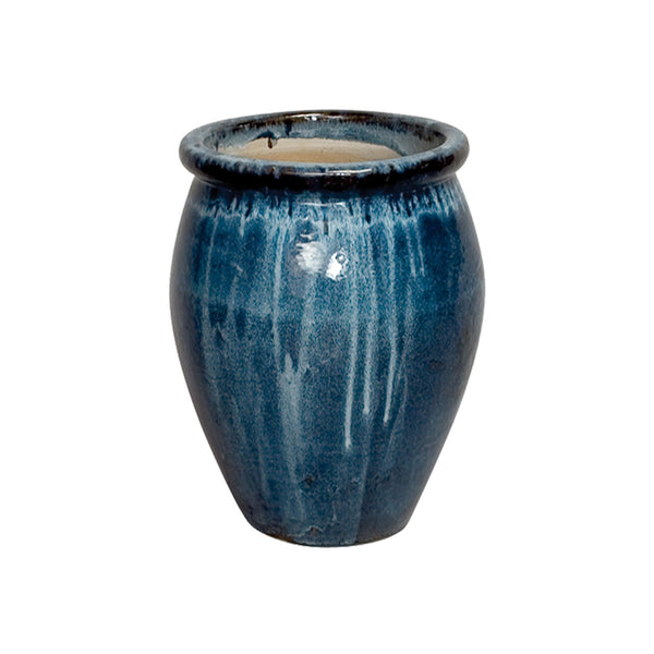 Small Glazed Ceramic Planter - Blue
