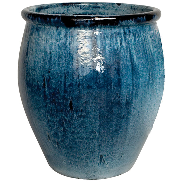 Large Glazed Ceramic Planter - Blue