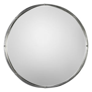 Modern Floating Round Mirror – Wire Strand Frame