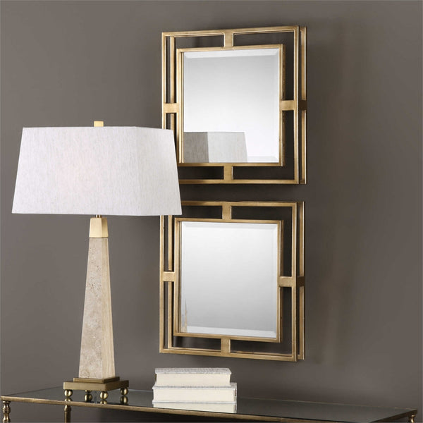 Small Square Framed Mirrors – Set of 2