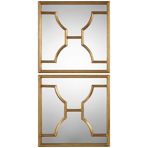 Square Gold Iron Beveled Edge Mirrors – Set of 2
