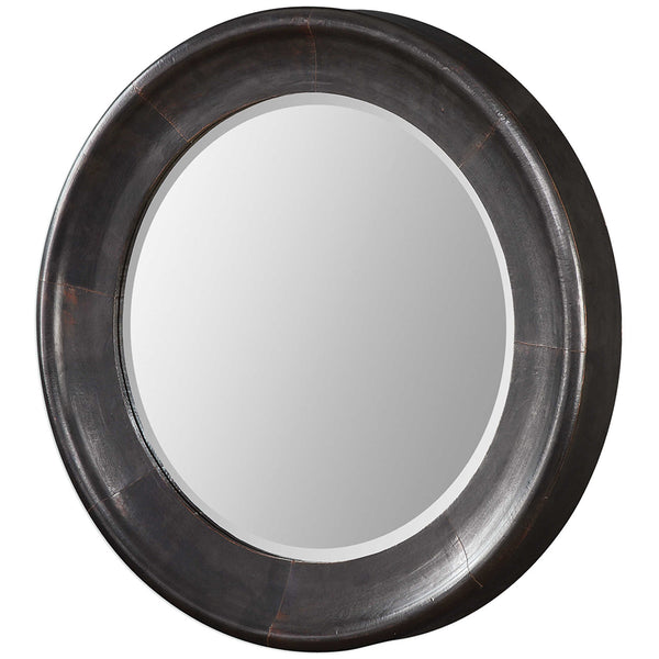 Round Dark Bronze Sloped Surface Mirror