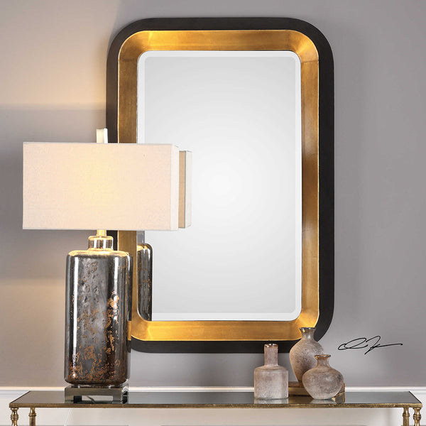 Black and Gold Beveled Mirror with Tapered Sides