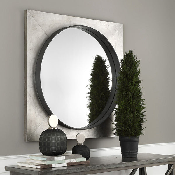 Large Contemporary Round Mirror – Silver Leaf