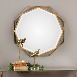 Dimensional Octagon Mirror – Gold Leaf