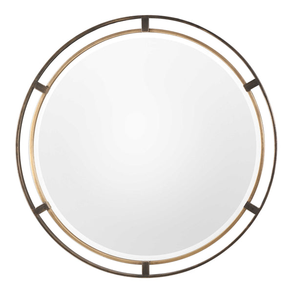 Contemporary Concentric Circles Mirror – Bronze & Gold