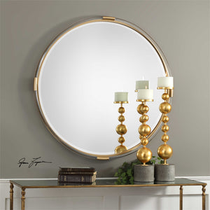 Large Round Mirror – Gold & Clear Acrylic