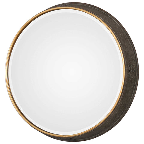 Rustic Round Mirror with Iron Frame
