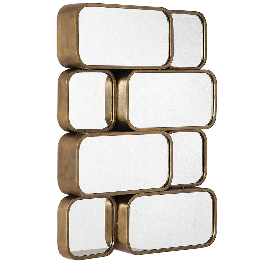 contemporary stacked boxes mirror sculpture