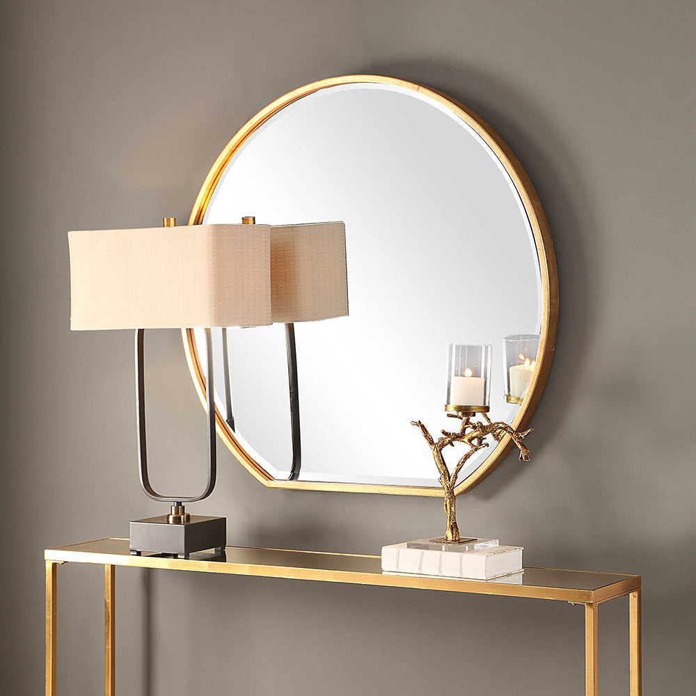 Large Round Mirror With Flat Edge Gold Leaf Scenario Home