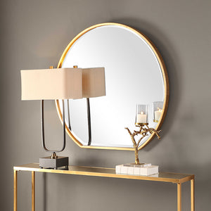 Large Round Mirror with Flat Edge - Gold Leaf