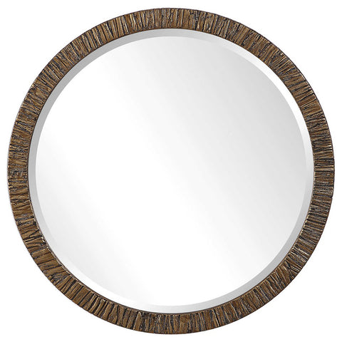 Round Wood Framed Mirror with Textured Tree Bark Veneer