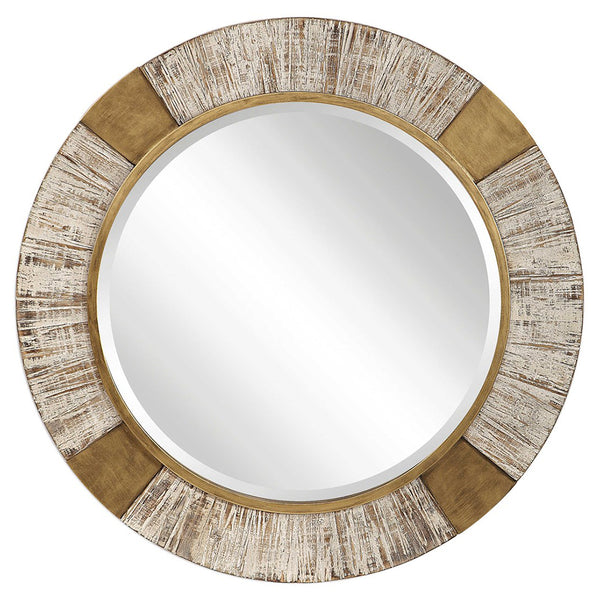 Oversized Rustic Round Mirror – Iron and Wood