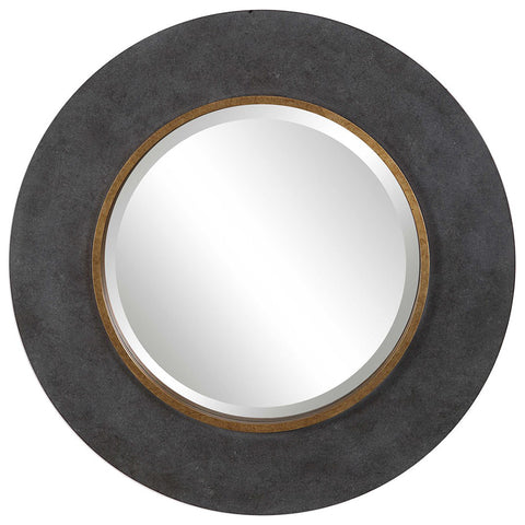 Concrete Look Round Mirror with Antique Gold Accent